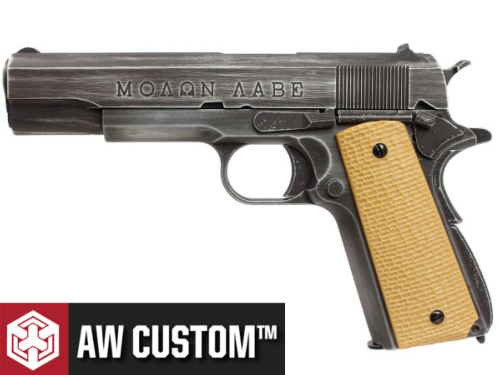 Réplique Airsoft AW Custom Molon Labe grip tan gaz GBB