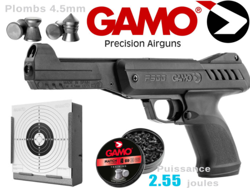 Pistolet plombs air comprimé 4.5mm Gamo P-900 Gunset 2.55j