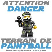 Panneau premium - Attention Danger, Terrain de Paintball