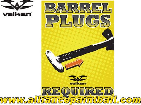 "Panneau Valken ""Barrel Plugs Required"""
