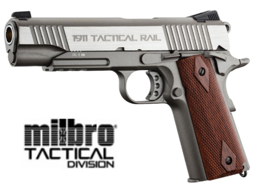 Réplique Airsoft Milbro 1911 Rail Stainless GBB Co2